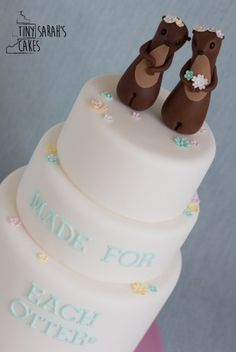 Wedding cake - otters cake topper - bride and groom - cute - made for each otter - alternative wedding cake - inspiration - Bracknell, Berkshire. Tiny Sarah's Cakes. www.tinysarahscakes.co.uk www.facebook.com/tinysarahscakes www.instagram.com/tinysarahscakes
