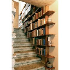 Staircase bookshelf - DIY Bookshelves : 18 Creative Ideas and Designs. Yes, I have seen a few DIY versions of the staircase bookshelf, wonderful design idea. Staircase Bookshelf, Bookshelf Ideas, Creative Bookshelves, Book Stairs, Stair Shelves, Bookshelf Decorating, Cheap Bookshelves, Decorating Ideas, Bookshelf Design