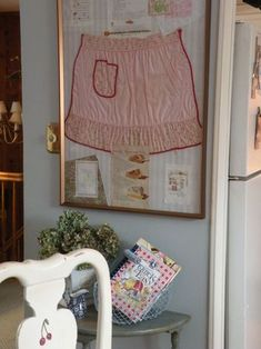 Great idea for a Granny who baked a lot!!! Frame her apron with one of her famous recipes!!!! Will have to do this!