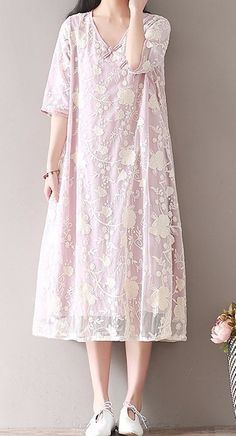 Women loose fit over plus size flower embroidery dress plate buckle tunic ethnic #Unbranded #dress #Casual