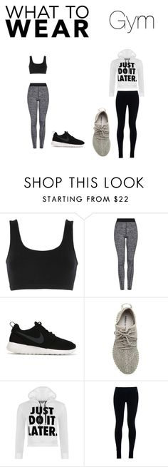 """""""Gym Looks"""" by juliakdash on Polyvore featuring adidas Originals, Topshop, NIKE, WearAll, fitness, nike, Yeezy and hotorcold"""