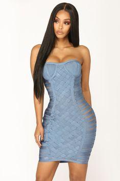 Serene Bandage Dress - Blue