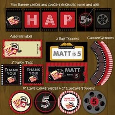 Make your movie night themed party a BIG HIT with Splashbox's biggest package yet! Every element has been carefully designed to have a movie night feel with the reels, films, movie tickets and so on. We even threw in a couple of new items in our regular package - a CD/DVD label and a personalized pop