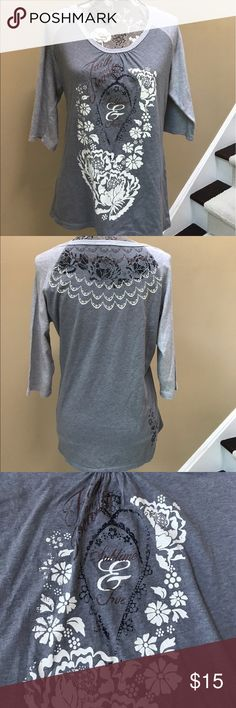 Sundance 3/4 Sleeve Top Sundance gray with light gray 3/4 Sleeve Top size medium. Shirt says Faith and Beauty Sublime and True. Great used condition.  Patterned design on back. Very unique. Sundance Tops