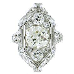 Art Deco near 5ct Diamond Platinum Ring at 1stdibs