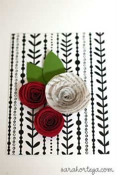 Beautiful handmade card idea.  Love the flowers!