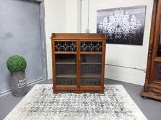 Antiques By Design - Leaded Glass Arts + Crafts Oak Bookcase