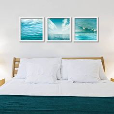 Nautical decor teal beach ocean photography set by mylittlepixels