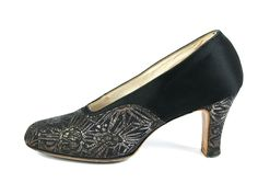 Pumps, Francis & Vaugham: ca. 1920's, French, atlas/brocade upper and heel, leather soles.