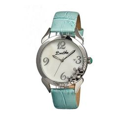 Bertha Daisy Mother-of-Pearl Watch ($138) ❤ liked on Polyvore featuring jewelry, watches, white, buckle watches, water resistant watches, daisy crown, mother of pearl jewelry and dial watches