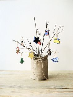 This is so precious. So not all living spaces Christmas tree friendly. This would still be festive and adorable. Just add a red bow and greenery and you are good to go!