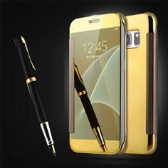 Fashion Transparent View Plating Mirror Hard Plastic Flip Cover Phone Cases for Samsung Galaxy A9 2016 Case Samsung A8 Coque