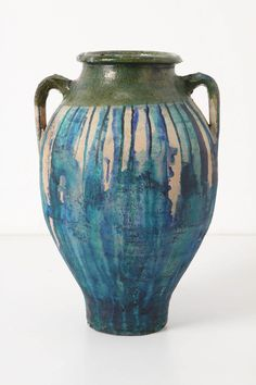 Anthropologie Dripped Olea Pot, Turquoise | handpainted by LA artist Caitlin Dinkins