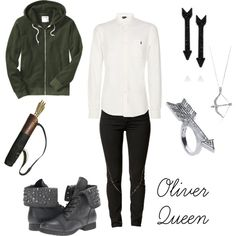 Oliver Queen- Arrow Accesories, White Shirt, Black Jeans, Green Sweater