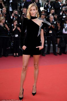Legs for days! Anja Rubik had clearly put the incident behind her as she attended The Meye...