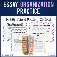 Need an engaging way to review the organization of a text-based essay?  Try centers (stations)!  Middle School students love the movement and you'll love the learning!  #teaching #structure Writing Lesson Plans, Writing Lessons, Teaching Writing, Essay Writing, Writing Ideas, 6th Grade Writing, 8th Grade Ela, Middle School Writing, Middle School English