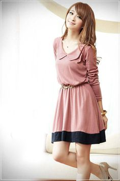 Korean Princess Collar Color Matched Long Sleeve Casual Dress Pink - BuyTrends.com