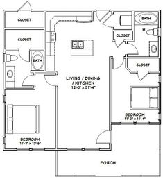 Large Home Floor Plan Ideas – Granny pods backyard cottage Large Floor Plans, Small House Floor Plans, Cottage Floor Plans, Cottage Plan, Modern House Plans, Little House Plans, Small Cottage House Plans, Home Design Floor Plans, The Plan