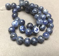 Sodalite Round Beads. Blue. Black. Opaque. Gemstone by trunksale