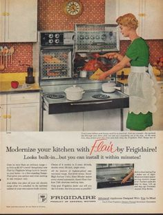 "Description: 1961 FRIGIDAIRE vintage print advertisement ""Modernize your kitchen"" -- Modernize your kitchen with Flair by Frigidaire! Looks built-in ... but you can install it within minutes! Frigidaire Flair Range. -- Size: The dimensions of the full-page advertisement are approximately 11 inches x 14 inches (28 cm x 36 cm). Condition: This original vintage advertisement is in Very Good Condition unless otherwise noted."