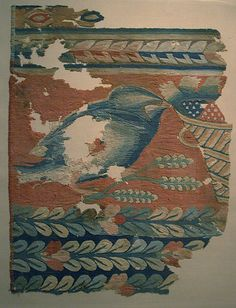4th century textile fragment: Hanging Fragment with Bird and Basket. Coptic/Egypt in wool and linen; tapestry weave.