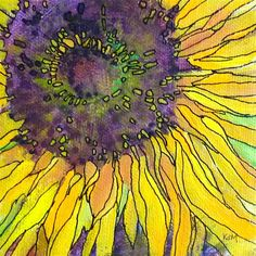 """Daily Paintworks - """"Summer Reflections and A New Acrylic and Ink Sunflower"""" - Original Fine Art for Sale - © Karen Margulis Watercolor And Ink, Watercolor Flowers, Watercolor Paintings, Watercolors, Acrylic Paintings, Sunflower Art, Sunflower Paintings, Art Aquarelle, Silk Painting"""