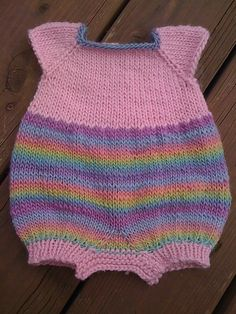 Baby #5s Pastel Rainbow Bubble Romper: Variation on Molly Bubble Romper by Elizabeth Daugherity pattern $10.00 on Ravelry at http://www.ravelry.com/patterns/library/molly-bubble-romper