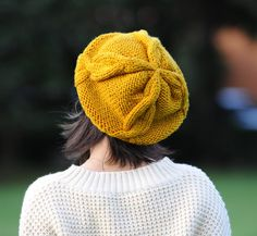 Tom Hand Knit Hat Womens Hat  Cable Beret Hat in by Magicdoll, $40.00
