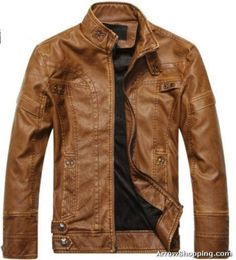 Arrow biker motorcycle Mens leather zipper Jacket Coat Black Brown khaki