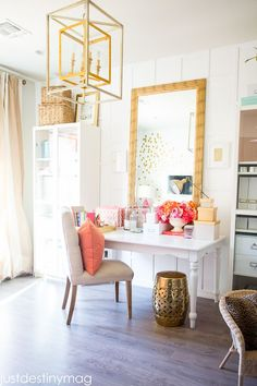 Gorgeous Coral and Gold Office                                                                                                                                                                                 More