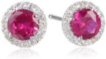 Sterling Silver Gemstone and Created White Sapphire Halo Studs (1.45%2
