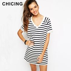 Online Shop CHICING Europe & America Prerry Style Black White Striped Print T-shirt Dress 2015 Summer Casual Long Blusas Plus Size B1506036|Aliexpress Mobile