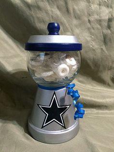 NFL Football Dallas Cowboys Handmade Faux Gumball Machine Candy/Snack Jar