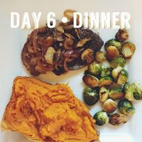 The Fork Diaries: Whole 30 - The First 15Dinner: Venison steak with sautéed balsamic onions and mushrooms Roasted brussel sprouts Baked sweet potato with cinnamon and sea salt  Toss brussel sprouts in olive oil, sea salt, pepper, and garlic powder. Roast in 400 degree oven for 20 minutes or until tender.