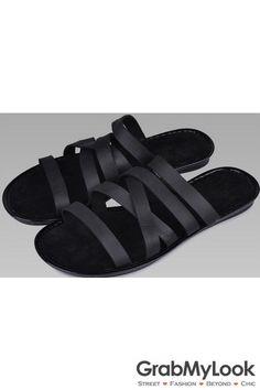 d66edb00e5598e GrabMyLook Multiple Thin Leather Black Straps Gladiator Roman Men Sandals  Flip Flops Open Toe Roman Man