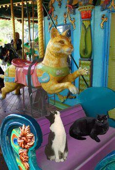 Cat Print: Cats On A Carousel In Bryant Park | Deborah Julian Art | Cheap at $20