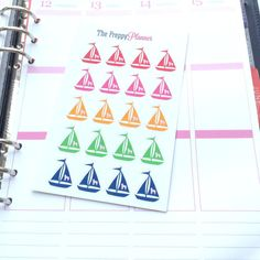 Sailboat with Dog Mascot Planner Stickers for Filofax Kikki Erin Condren  All colors are pulled from actual Lilly Pulitzer prints  Measures