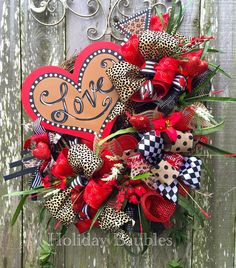 Security Check Required : Heart Wreath by Holiday Baubles Valentine Day Wreaths, Valentines Day Decorations, Valentine Day Crafts, Holiday Wreaths, Holiday Crafts, Valentine Ideas, Diy Wreath, Wreath Making, Valentine's Day Diy