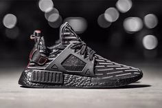 adidas NMD Triple Black Release Date. This adidas NMD Triple Black includes patterns from the NMD with Red detailing on the heel tab. Sneakers Mode, Casual Sneakers, Sneakers Fashion, All Black Sneakers, Fashion Shoes, Sneakers Workout, Sneakers Design, Running Sneakers, Chunky Sneakers