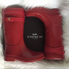 "COACH Red Rainboots New in box! 12"" boot shaft, 14"" calf circumference. More pics on other listing❤️ Retails $195. Price is firm:) Coach Shoes Winter & Rain Boots"