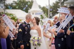 An exit from Disney's Wedding Pavilion surrounded by bubbles and plenty of Hooray's!