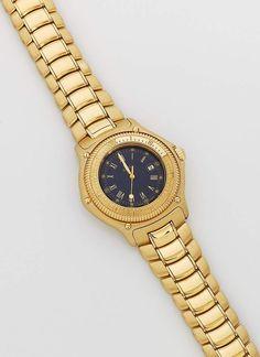 """Herrenarmbanduhr von Ebel sog. """"Ebel 1911 Discovery"""". Gelbgold, gest. 750. Rundes, verschraubtes Uhr — Schmuck"""