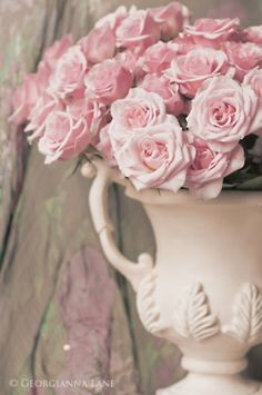 ♆ Blissful Bouquets ♆ gorgeous wedding bouquets, flower arrangements & floral centerpieces - pink roses in greek vase