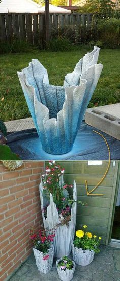 8. Planter made from old towel and quick dry cement.