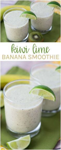 You'll love the tart and sweet combo of this healthy Kiwi Lime Banana Smoothie recipe! It's fruity, refreshing and good for you!