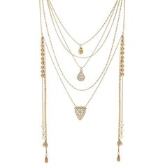 Steve Madden Gypsy Layered Necklace ($32) ❤ liked on Polyvore featuring jewelry, necklaces, gold, multiple chain necklace, gold layered necklace, multi layer chain necklace, gold necklace and multi-strand necklace