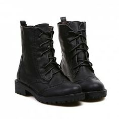 $16.77 British Style Women's Short Boots With Openwork and Lace-Up Design