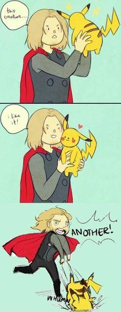 Hahaha #thor #funny #pikachu #pokemon