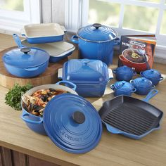 Le Creuset Signature Enameled Cast Iron Mille Blue Cookware Set Here It Is I Need Every Thing But The Round Pot