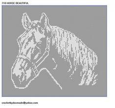 710 Horse Beautiful Bedspread Curtain Wallhanging Filet Crochet Pattern ************************************** Size 10 thread x 2300 yds ***************************************** Pa Filet Crochet Charts, Crochet Doily Patterns, Thread Crochet, Crochet Motif, Crochet Doilies, Free Crochet, Knit Crochet, Crochet Curtains, Tapestry Crochet